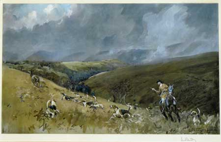 D.S.S.H., Hind Hunting, The Barle Valley by Lionel Edwards